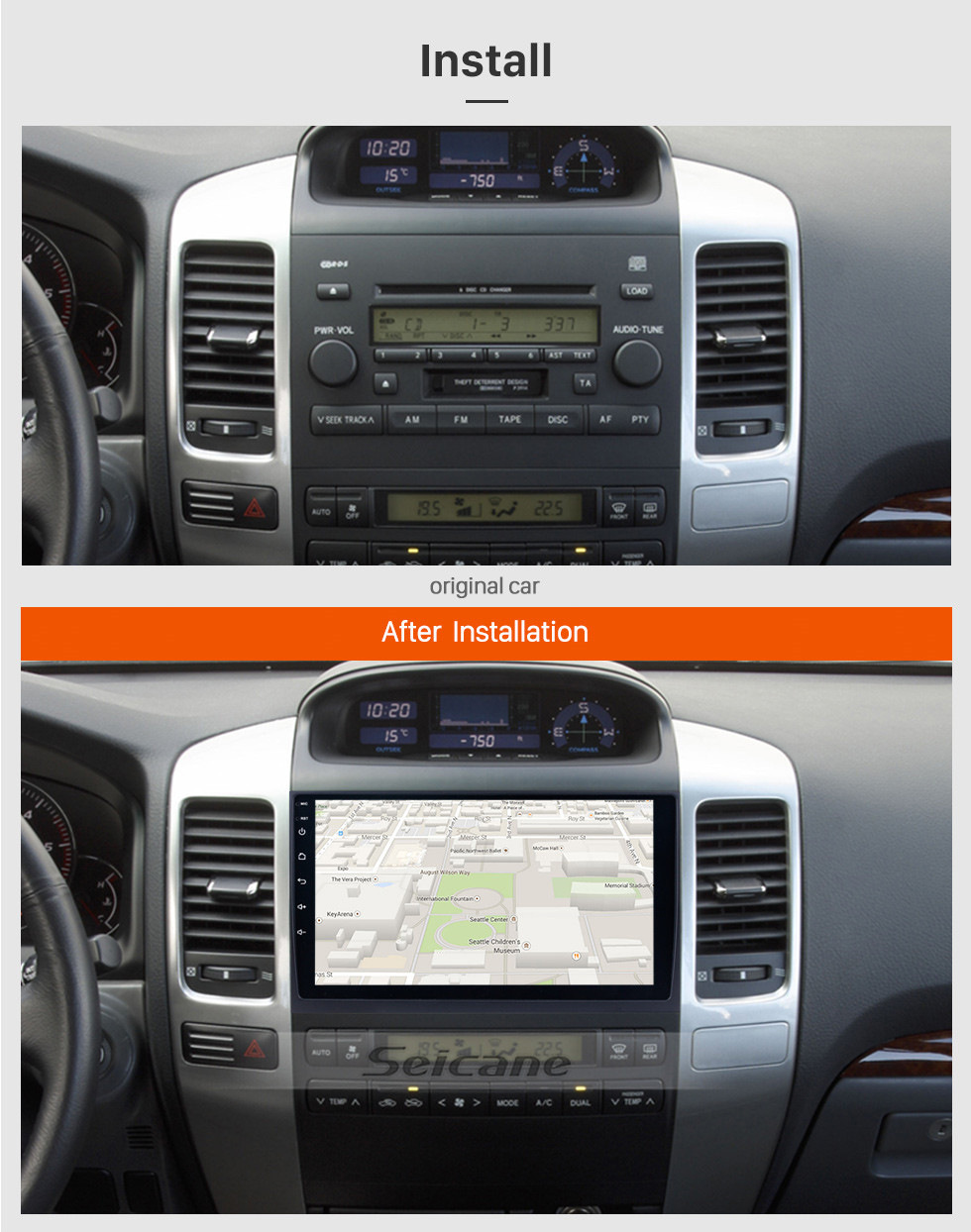 Seicane Android 8.1 2004 2005 2006 2007 2008 2009 Toyota Prado Radio GPS Navigation system with Bluetooth HD Touchscreen WIFI 1080P DVR Mirror Link Rearview Camera