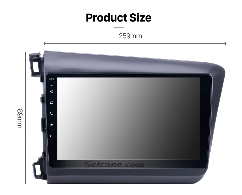 Seicane 10.1 inch Android 8.1 Radio GPS Car Audio System for 2012 Honda Civic LHD with Bluetooth Music 3G WiFi Mirror Link OBD2 HD 1024*600 Multi-touch Capacitive Screen