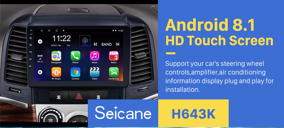 Seicane OEM 2005-2012 HYUNDAI SANTA FE Radio Upgrade with Android 8.1 Bluetooth GPS Navigation Car Audio System Touch Screen WiFi 3G Mirror Link OBD2 Backup Camera DVR AUX