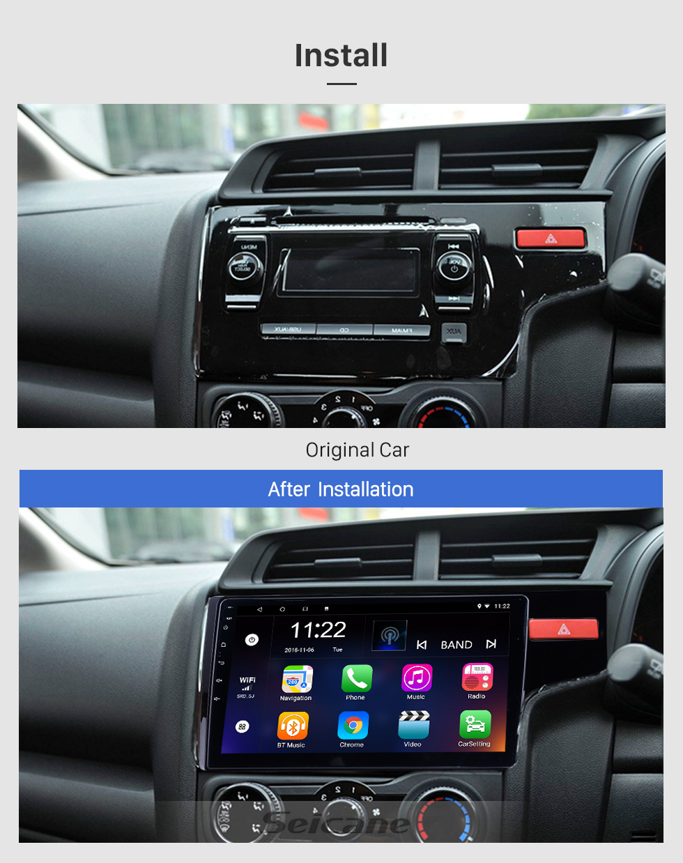 Seicane 10.1 Inch Android 8.1 1024*600 2014 2015 HONDA JAZZ/FIT (RHD) Radio Bluetooth Touch Screen GPS Navigation Car Stereo Mirror Link Steering Wheel Control 1080P DAB+