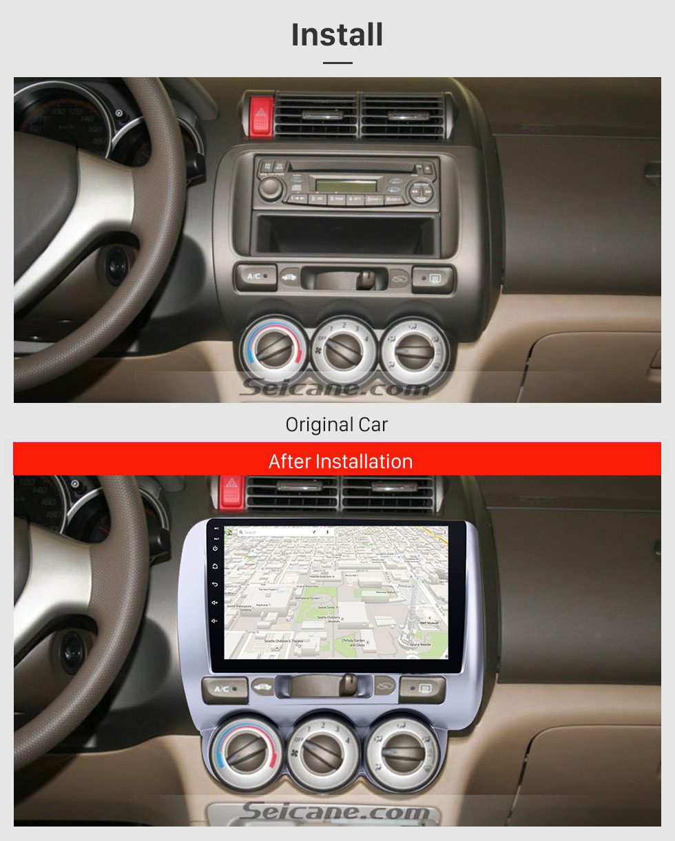 Seicane 9 inch Touchscreen Android 8.1 GPS Navi Radio for 2004-2007 HONDA Jazz/FIT(Manual AC,LHD)  2006 2007 CITY 2011-2019 EVERUS S1 Bluetooth WIFI Mirror Link USB