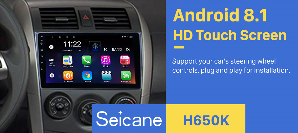 Seicane 9 inch 2006-2012 Toyota Corolla Pure Android 8.1 GPS Multimedia Navigation System with 3G WiFi Radio Tuner Bluetooth Music Mirror Link OBD2 Backup Camera HD 1080P Video