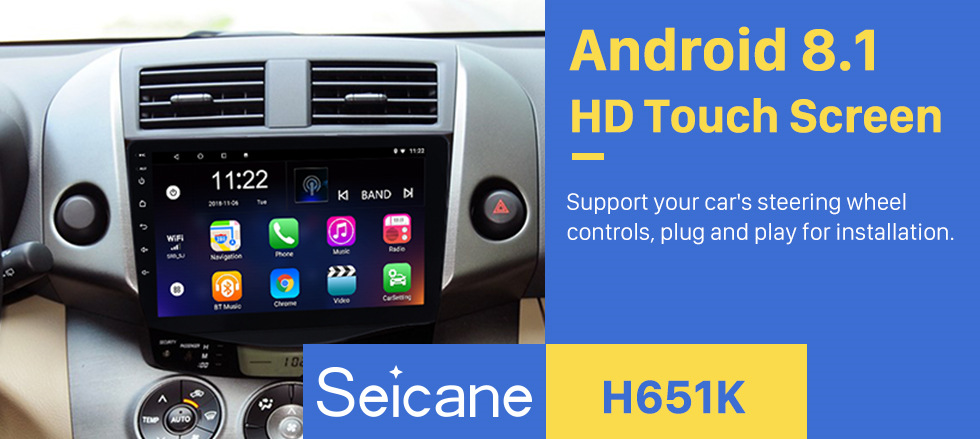 Seicane 2007-2013 Toyota RAV4 Android 8.1 Radio 9 inch HD Touchscreen GPS Navigation Steering Wheel control WIFI USB Bluetooth support DVR Backup Camera TV Video