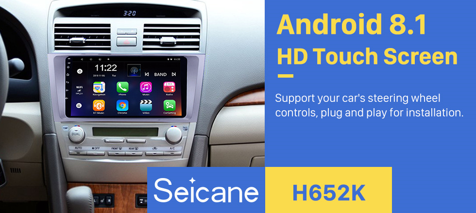 Seicane 9 inch 1024*600 touchscreen 2007 2008 2009 2010 2011 TOYOTA CAMRY Radio Replacement with Android 8.1 Aftermarket GPS Car Stereo with Bluetooth Music WiFi 3G Mirror Link OBD2 DVR HD 1080P Video USB SD