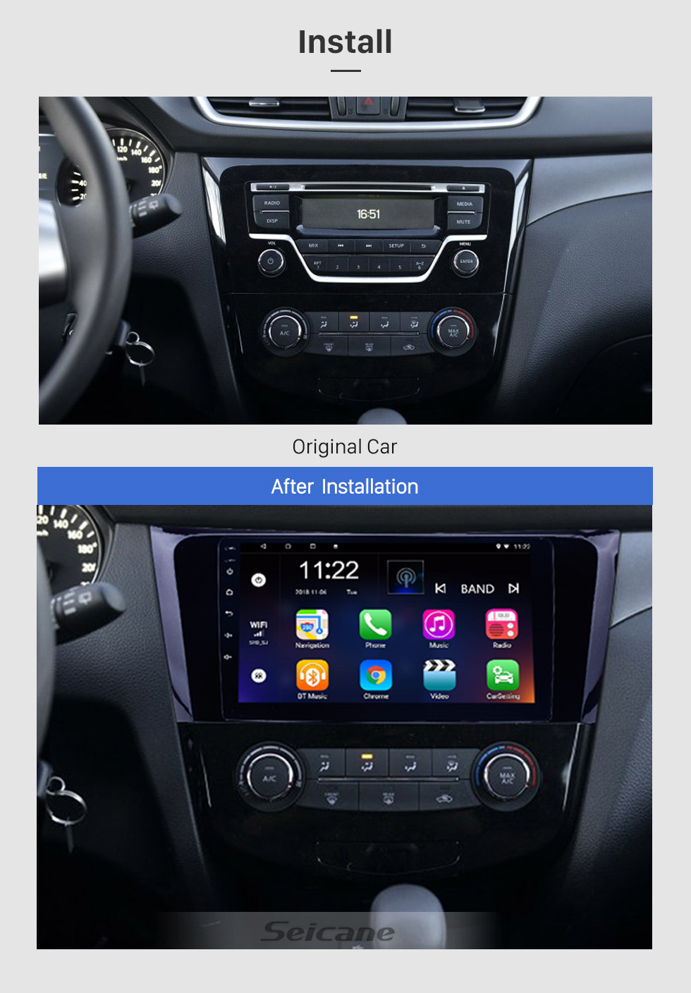 Seicane 9 inch Android 8.1 GPS Radio Bluetooth Multimedia Navigation System for 2013 2014 Nissan X-Trail with 3G WiFi Mirror Link Touch Screen OBD2 Steering Wheel Control Auto A/V USB SD
