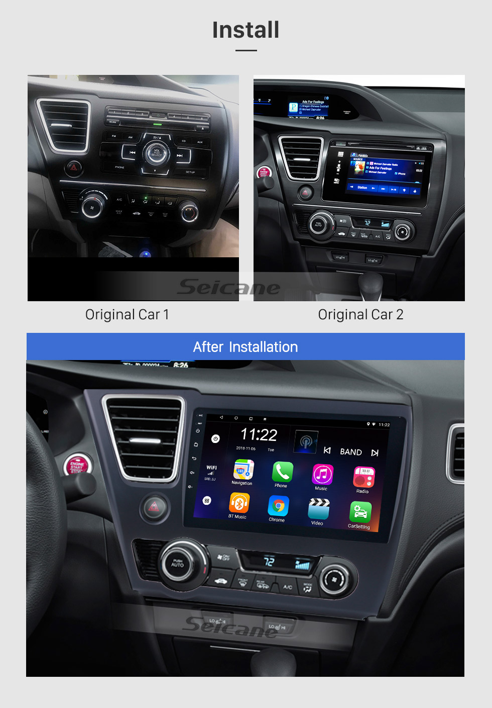 Seicane 9 inch 2014 2015 2016 2017 HONDA CIVIC Android 8.1 HD Touchscreen Radio GPS Navigation head unit with Bluetooth WIFI Rearview camera AUX 1080P OBDII DVR Mirror Link