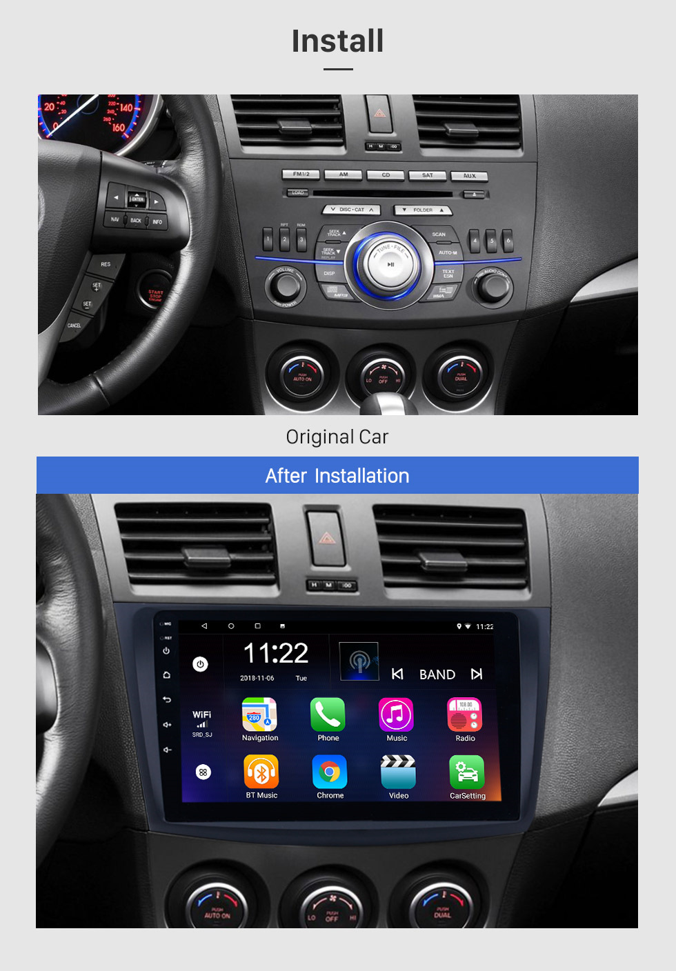 Seicane For 2009-2012 Mazda 3 Axela 9 inch Android 8.1 HD Touchscreen Auto Stereo 3G WIFI Bluetooth GPS Navigation system Radio support SWC DVR OBD Carplay RDS