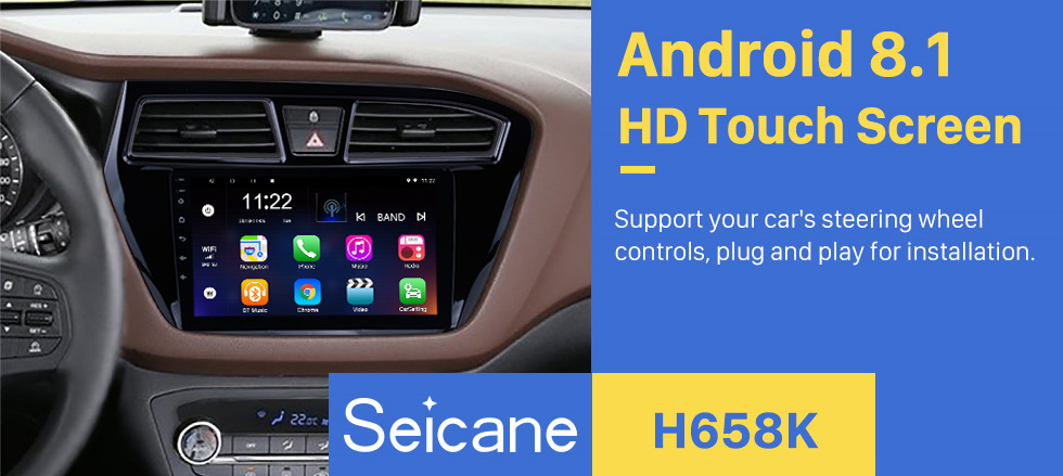 Seicane 9 inch HD Touch Screen Android 8.1 Radio GPS Navigation for 2014 2015 HYUNDAI I20 LHD with Bluetooth USB Music WIFI Mirror Link DVR OBD2