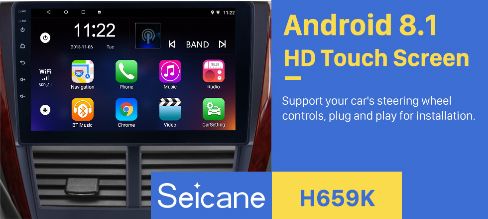 Seicane 9 Inch Android 8.1 2008 2009 2010 2011 2012 Subaru Forester HD Touchscreen Head Unit GPS Radio GPS Navigation System Bluetooth Phone WIFI Support Steering Wheel Control Backup Camera