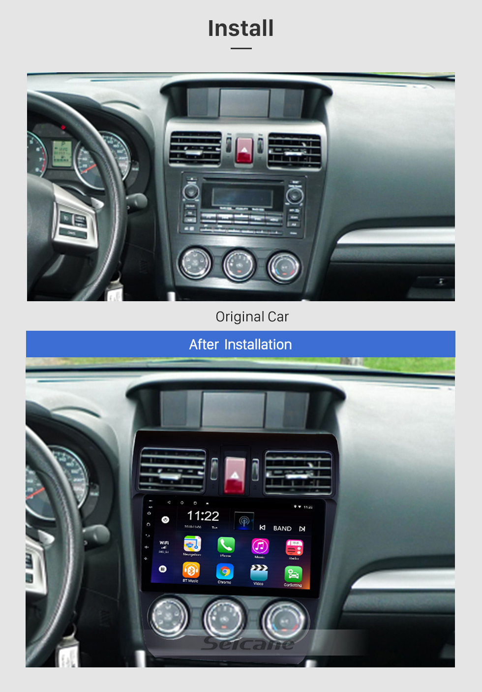 Seicane 9 Inch 1024*600 Touchscreen 2014 2015 2016 Subaru Forester Android 8.1 Radio GPS Navigation System Bluetooth Rearview camera 3G WIFI Mirror link Steering Wheel Control