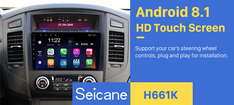 Seicane 9 inch HD 1024*600 Touch Screen 2006 2007 2008-2013 Mitsubishi PAJERO V97/V93 Android 8.1 Radio GPS Navigation Car Stereo with Bluetooth Music MP3 USB 1080P Video WIFI Mirror Link