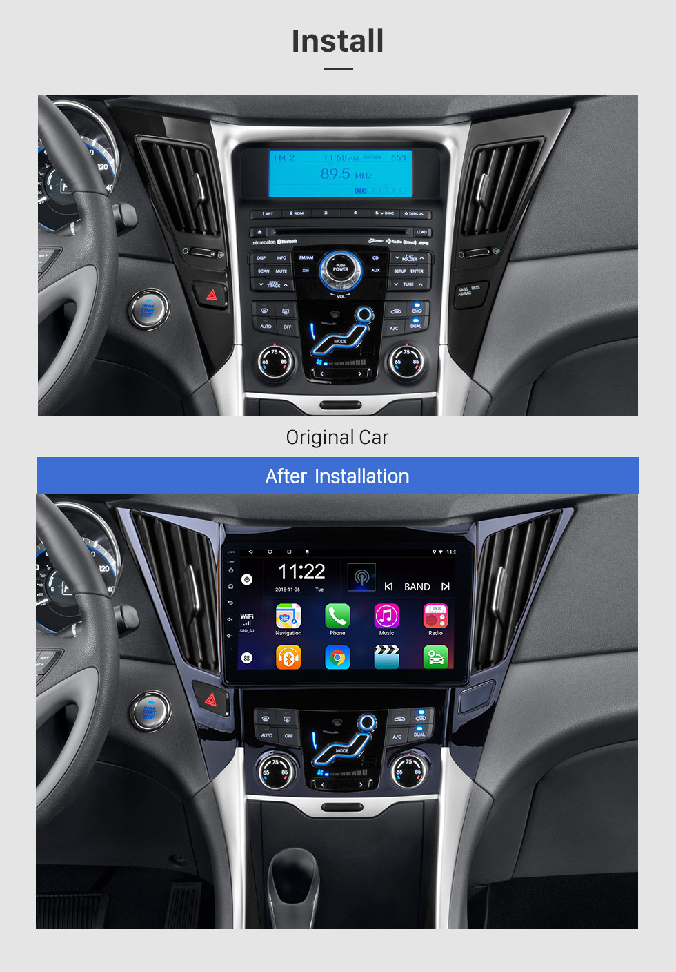 Seicane 9 Inch All-in-One Android 8.1 GPS Navigation system For 2011-2015 HYUNDAI Sonata i40 i45 with Touch Screen TPMS DVR OBD II Rear camera AUX USB SD Steering Wheel Control 3G WiFi Video Radio Bluetooth