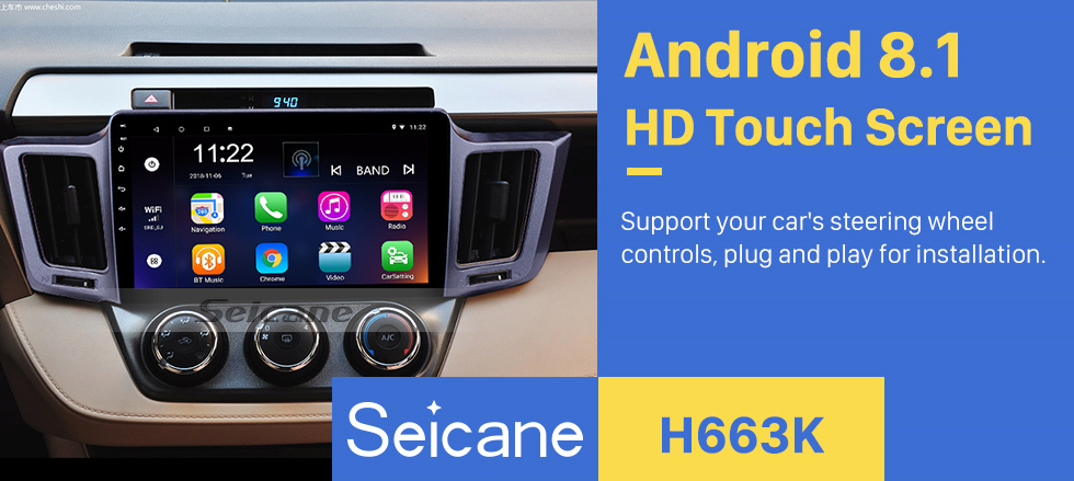 Seicane 2013-2016 Toyota RAV4 10.1 inch Android 8.1 GPS Sat Nav In Car with Touch Screen 3G WiFi AM FM Radio Bluetooth Music USB Mirror Link support OBD2 Backup Camera DVR Steering Wheel Control