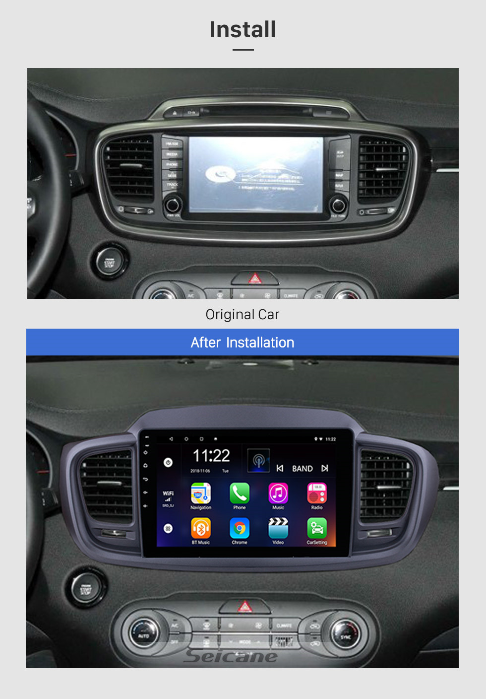 Seicane 10.1 inch Android 8.1 1024*600 Touch Screen Radio Car Multimedia Player For 2015 2016 KIA SORENTO GPS Navigation upgrade Head unit with 3G WiFi Radio Bluetooth Music USB Mirror Link support DVR OBD2 Backup Camera Steering Wheel Control TPMS