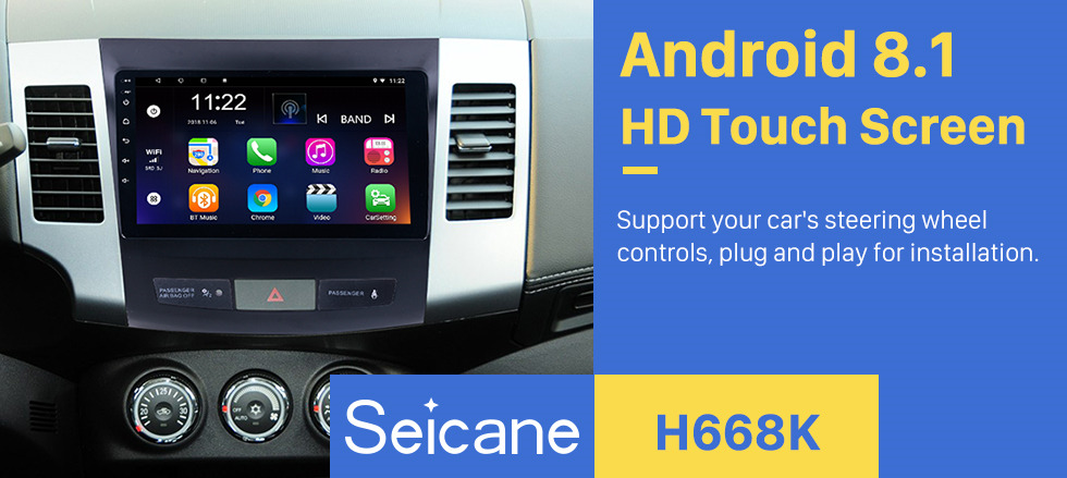 Seicane 2006-2014 MITSUBISHI Outlander 9 inch Touch Screen Android 8.1 Radio Bluetooth GPS Navigation system with WIFI support OBD2 DVR Backup camera TV USB Mirror link