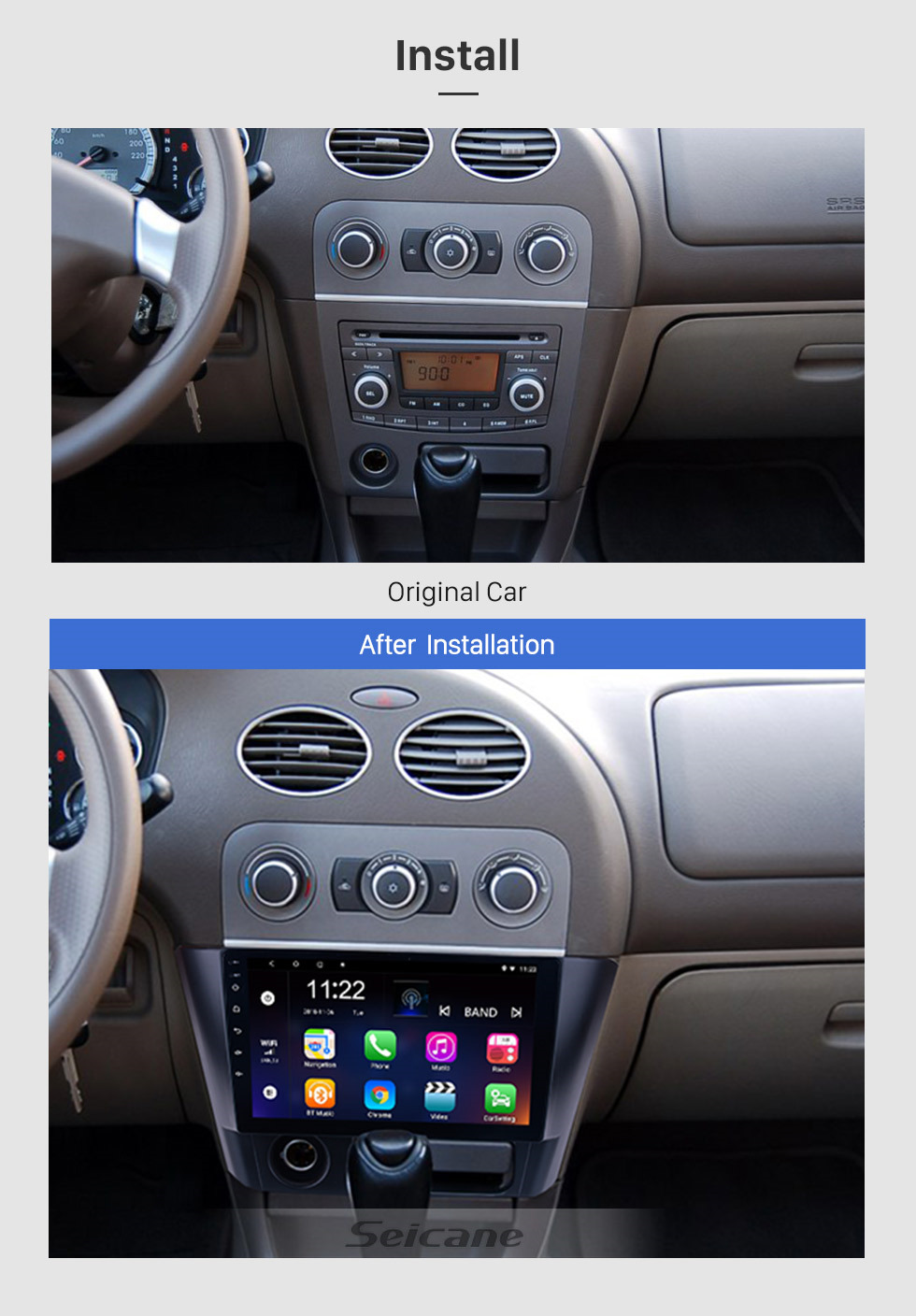 Seicane 2014 2015 2016 Mitsubishi Lancer Android 8.1 auto Stereo 9 inch HD Touch Screen Radio Head unit with GPS Navigation WiFi FM Bluetooth Music USB support Mirror Link Backup Camera Steering Wheel Control TPMS DVR