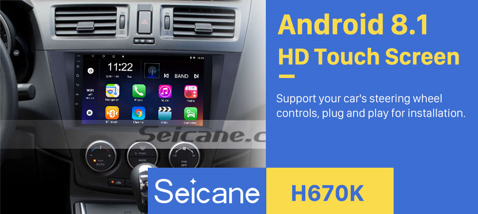 Seicane 9 inch Android 8.1 GPS Navigation System for 2009 2010 2011 2012 Mazda 5 with Radio HD 1024*600 Touch Screen support DVR TV Video WIFI OBD2 Bluetooth USB Backup Camera Steering Wheel control Mirror link
