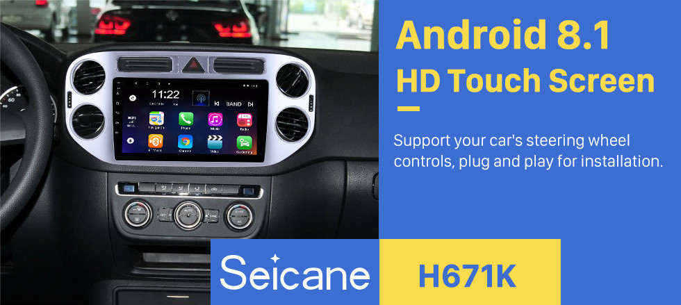 Seicane 9 inch 2010-2015 VW Volkswagen Tiguan Android 8.1 HD 1024*600 Touchscreen Radio with GPS Navi Bluetooth USB 3G WIFI 1080P Rearview Camera Aux Steering Wheel Control