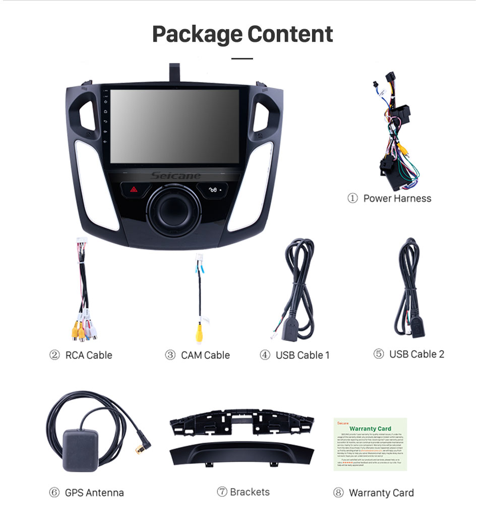 Seicane 9 inch Android 8.1 GPS Navigation HD 1024*600 Touchscreen Radio for 2011 2012-2015 Ford Focus with Bluetooth WIFI 1080P USB Mirror Link OBD2 DVR Steering Wheel Control