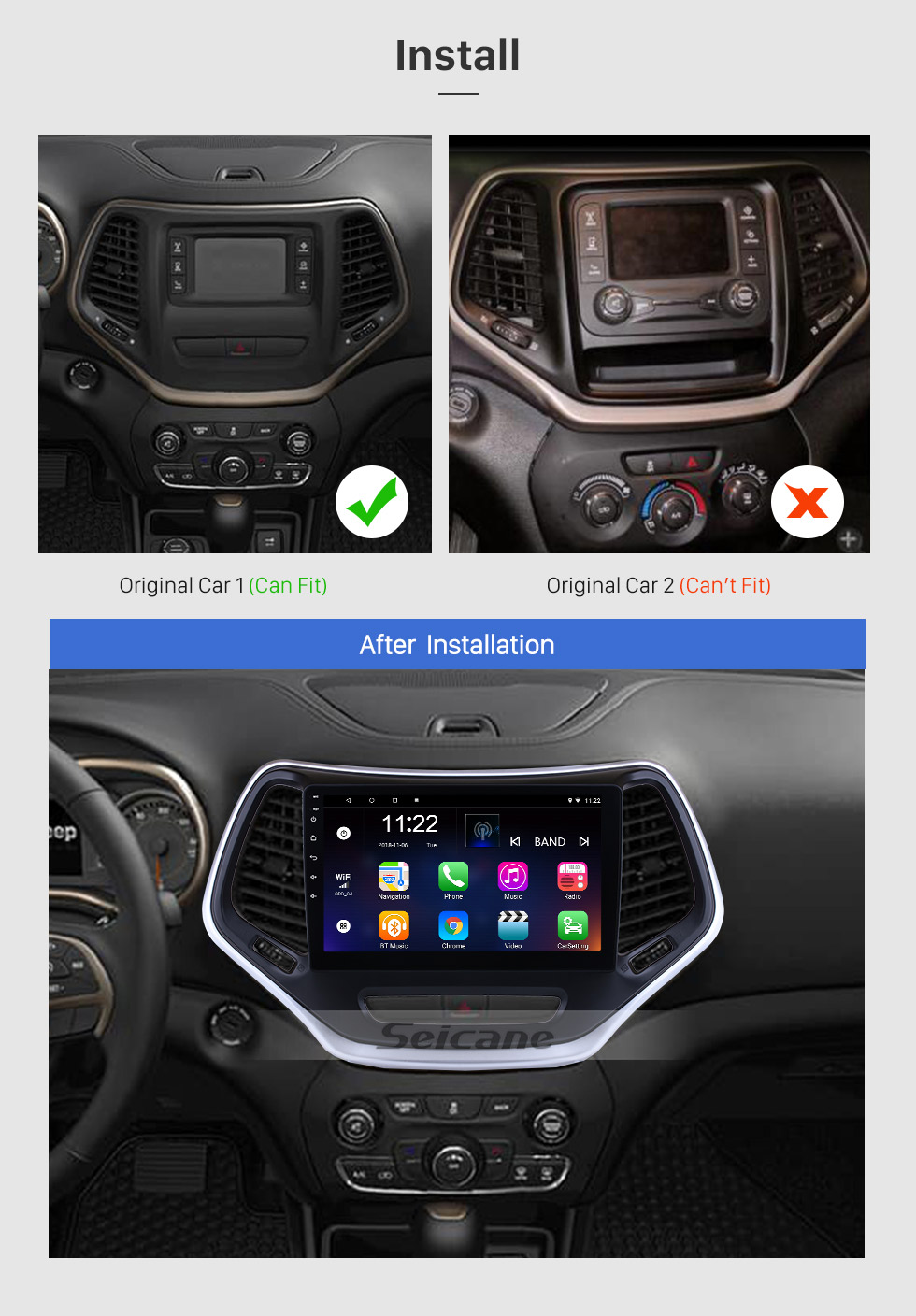 Seicane 2016 Jeep Grand Cherokee 10.1 inch Android 8.1 Touchscreen Radio GPS Navigation System WIFI Bluetooth Steering Wheel Control support OBD2 DVR Backup Camera