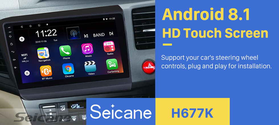 Seicane 2012 HONDA CIVIC Right Hand Driving 9 Inch Android 8.1 Radio GPS Navigation Bluetooth HD Touchscreen Mirror link USB WIFI Steering Wheel Control support DVR Backup camera OBD2