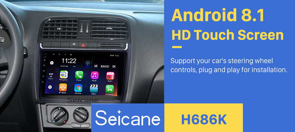 Seicane 9 Inch 1024*600 Android 8.1 2012-2015 VW Volkswagen Polo Car Audio Stereo GPS Navigation with 1080P Video Bluetooth Music RDS Radio Mirror Link Steering Wheel Control