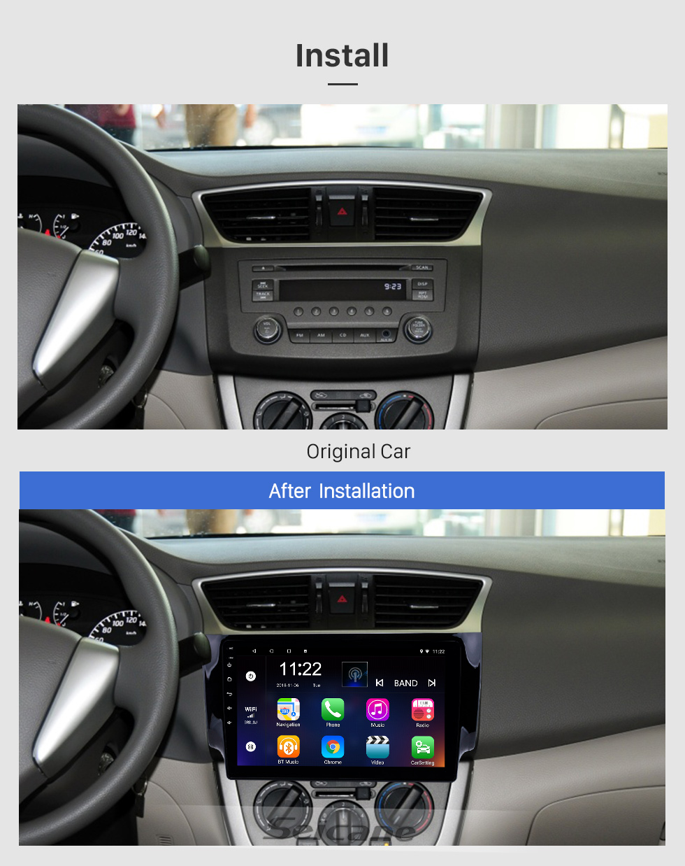Seicane 10.1 Inch Android 8.1 Touch Screen radio Bluetooth GPS Navigation system For 2012-2016 NISSAN SYLPHY Steering Wheel Control AUX WIFI support TPMS DVR OBD II USB Rear camera