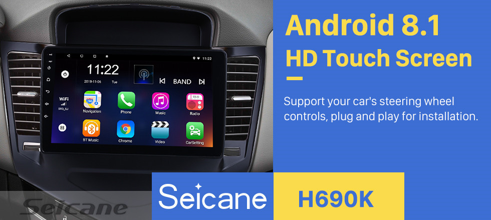 Seicane 2013 2014 2015 Chevy Chevrolet Cruze 9 inch Android 8.1 HD 1024*600 Touchscreen Radio with GPS Navigation Bluetooth USB OBD2 WIFI 1080P Mirror Link Steering Wheel Control