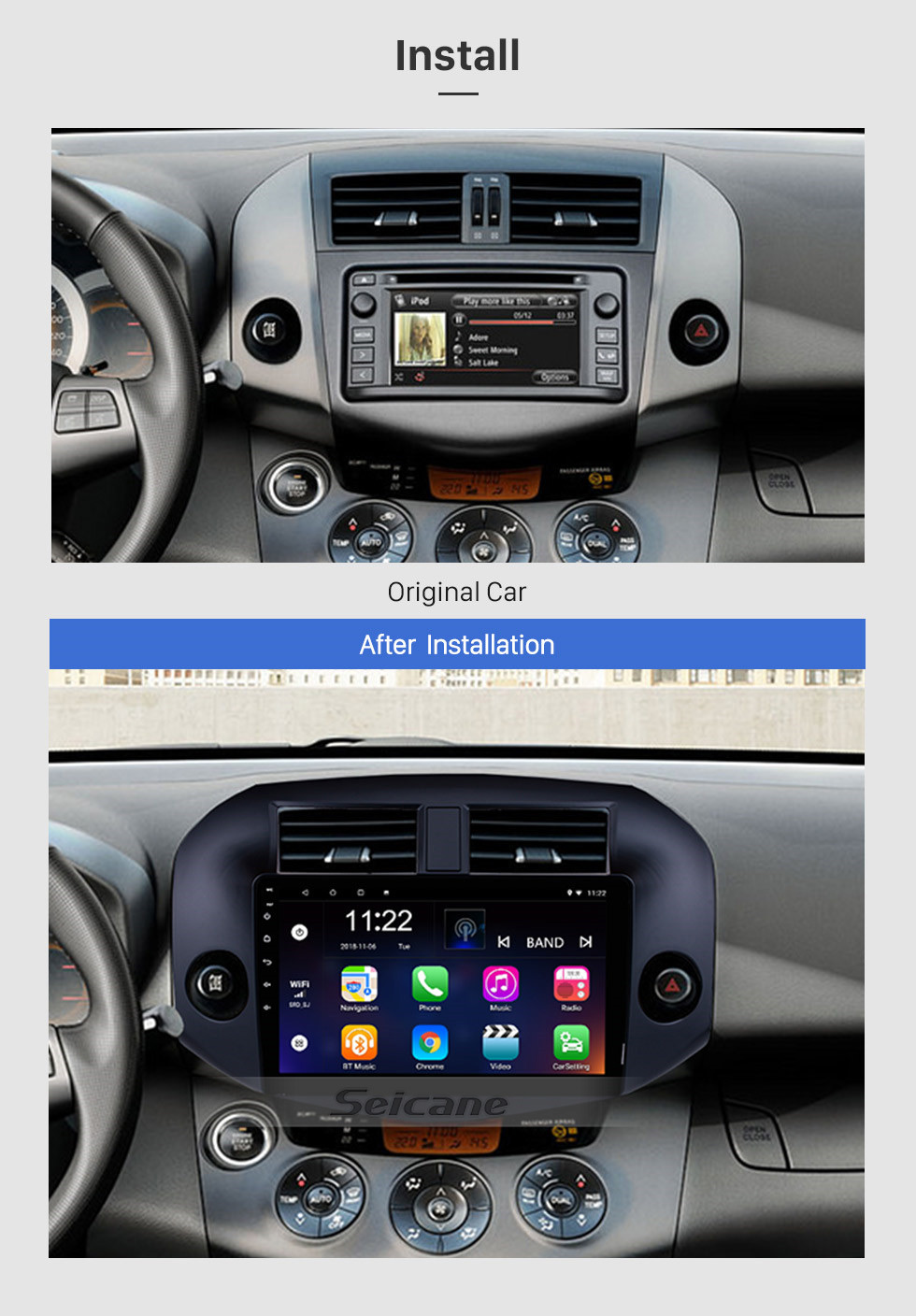 Seicane OEM Android 8.1 Radio for 2007-2011 Toyota RAV4 10.1 inch HD Touch Screen Bluetooth GPS Navigation USB WIFI Music SWC OBD DVR Rearview Camera TV