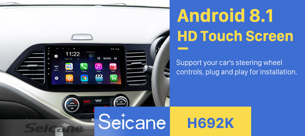 Seicane Android 8.1 Multimedia player for 2011-2014 KIA Picanto Morning 9 inch HD Touchscreen Radio  WIFI OBD2 Bluetooth GPS Navigation system Mirror link DVR Backup camera TV USB HD 1080P Video Steering Wheel control