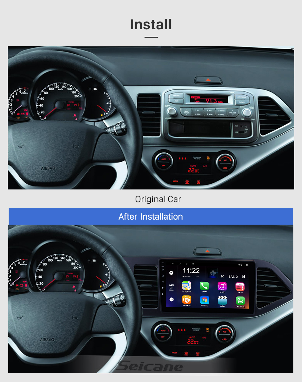 Seicane 9 inch Android 8.1 GPS Radio for 2011-2014 KIA PICANTO Morning (LHD) 1024*600 Touch Screen Bluetooth Navigation system Mirror link OBD2 DVR  Backup Camera TV 3G WIFI USB SD 16G Flash 1080P Video