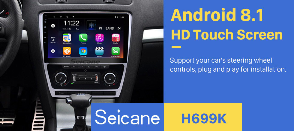 Seicane 10.1 inch Android 8.1 HD Touch Screen 2007-2014 VW Volkswagen SKODA Octavia Radio GPS Bluetooth Head unit Mirror Link OBD2 TPMS DVR Rearview Camera Digital TV Steering Wheel Control 3G Wifi