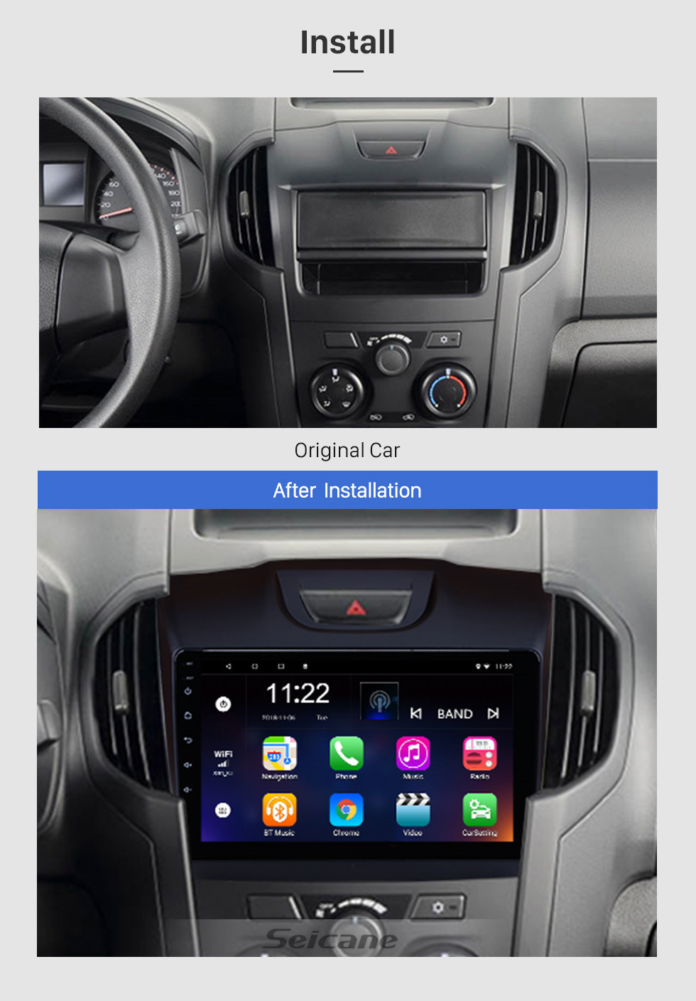 Seicane 9 inch Chevy Chevrolet S10 2015-2018 ISUZU D-Max Android 8.1 Radio GPS navigation system HD 1024*600 touch screen Bluetooth DVR Rearview camera OBD2 TV WIFI Steering Wheel Control USB Mirror link