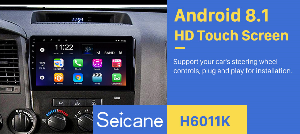 Seicane 10.1 inch HD touchscreen Radio GPS Navigation System Android 8.1 for 2008-2015 TOYOTA Sequoia 2006-2013 Tundra Support Radio Carplay Bluetooth OBD II DVR 3G WIFI Rear view camera