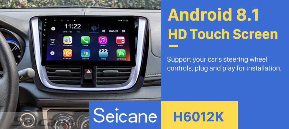 Seicane 10.1 inch 2014 2015 2016 2017 TOYOTA VIOS Yaris Android 8.1 HD Touchscreen Radio Head Unit GPS Navigation System Support Bluetooth OBD II DVR 3G WIFI Rear view camera