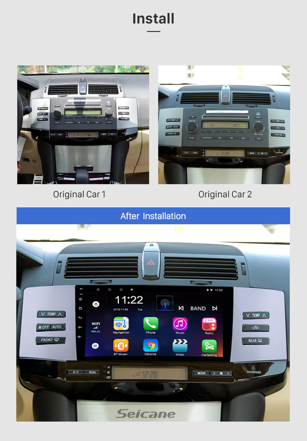 Seicane 9 Inch Android 8.1 2005-2009 Toyota Old REIZ HD Touchscreen GPS Navigation System Head Unit Support 3G WiFi Bluetooth TPMS DVR OBD II Rear View camera AUX Video