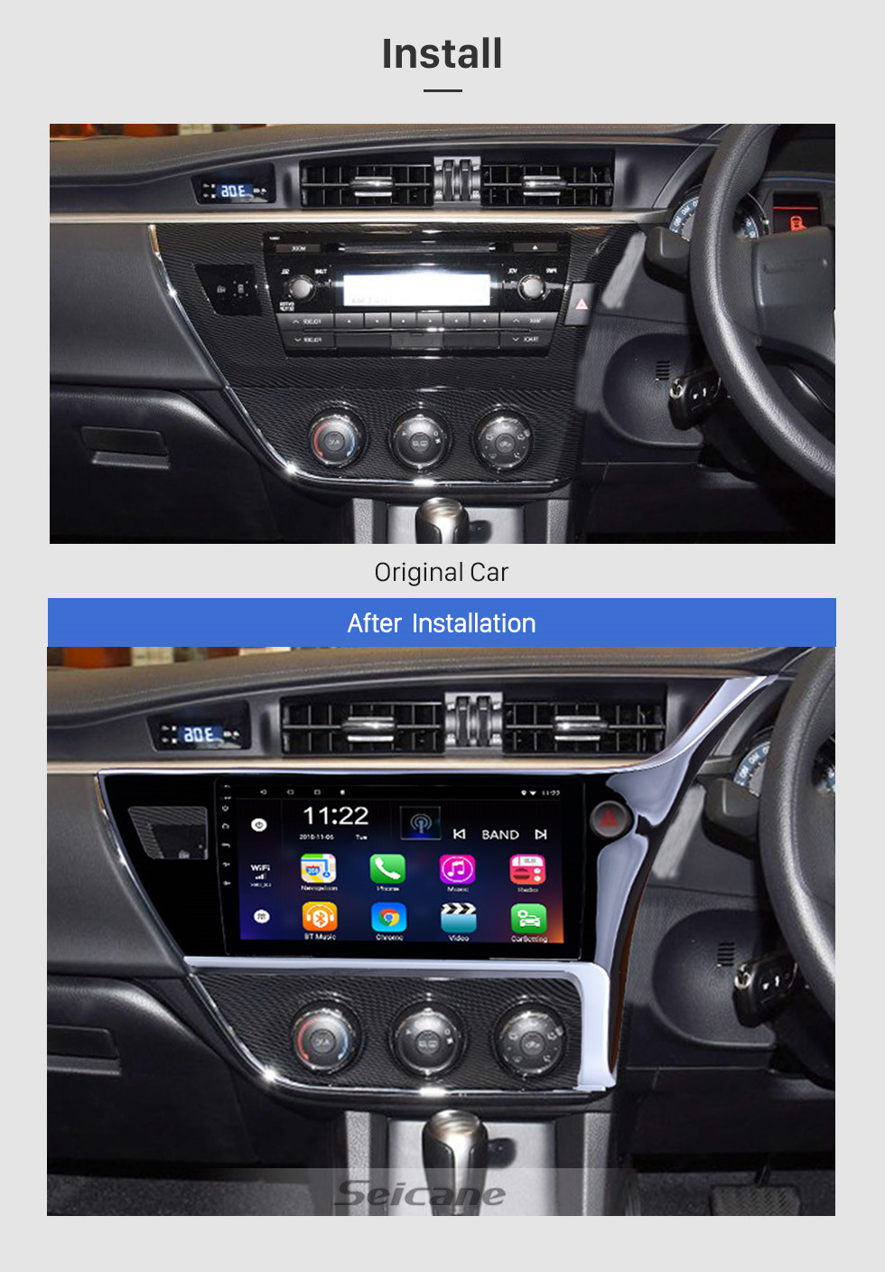 Seicane 10.1 inch Android 8.1 2017 Toyota Corolla Right Hand driving Car Head unit HD Touchscreen Radio GPS Navigation System Support 3G Wifi Rear View Camera Video Carplay Bluetooth DVR OBD II