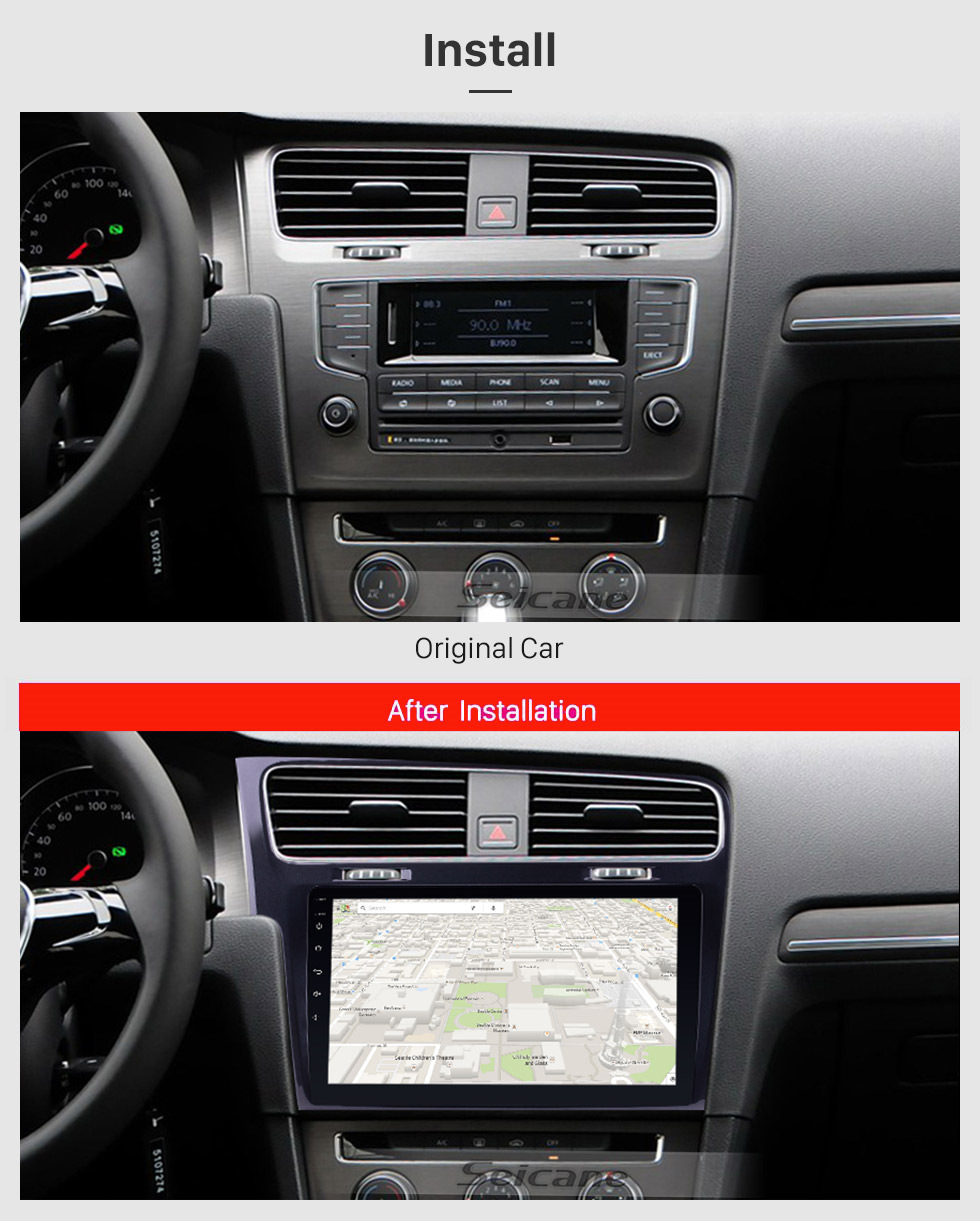 Seicane 10.1 inch Android 8.1 for 2013 2014 2015 VW Volkswagen Golf 7 GPS Navigation System Radio with HD Touch Screen WIFI Bluetooth support Digital TV Carplay