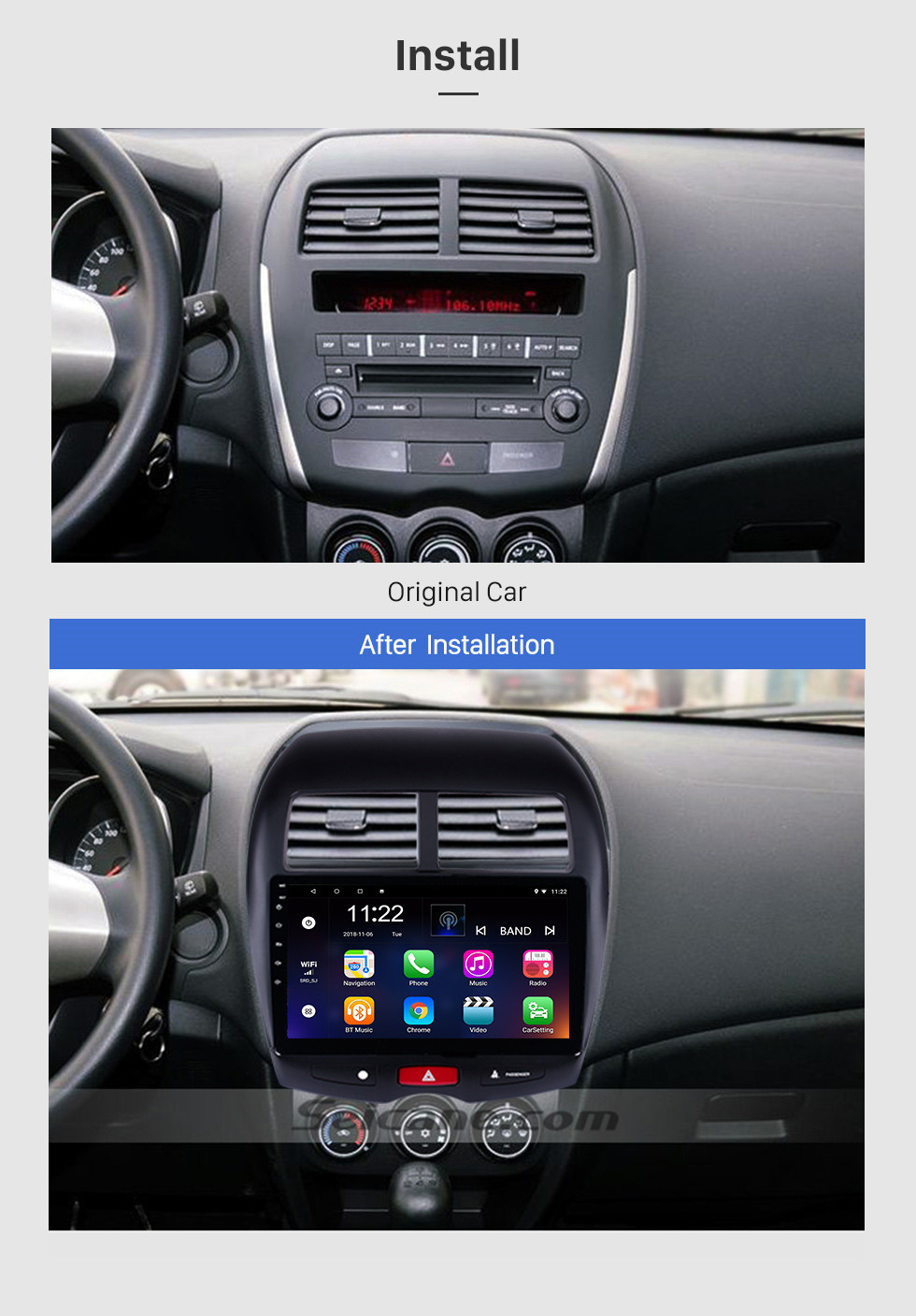 Seicane 10.1 inch Android 8.1 HD touchscreen 2012 CITROEN C4 GPS Navigation Radio with Bluetooth WIFI support Steering Wheel Control Backup Camera