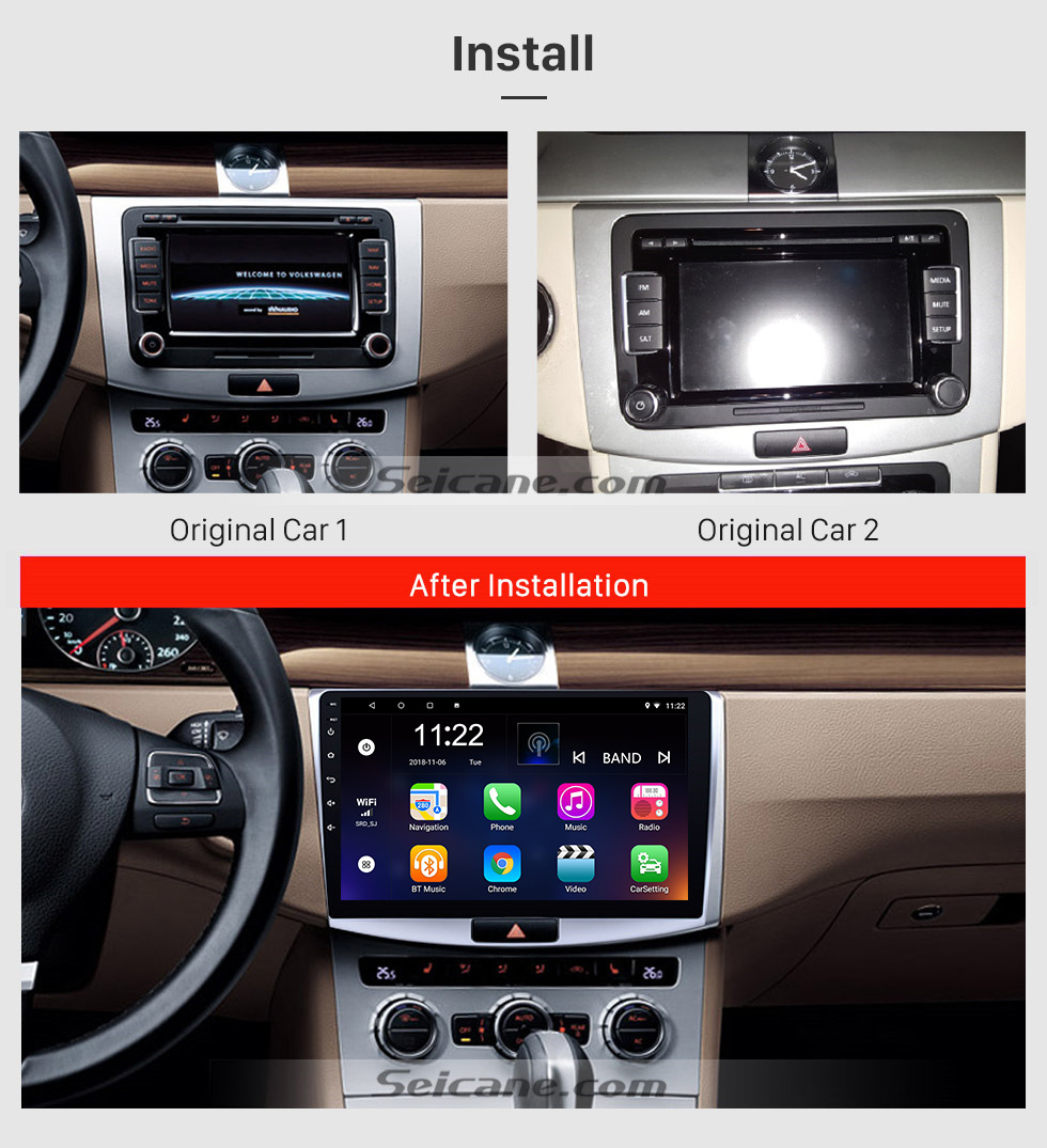 Seicane 2012 2013 2014 VW Volkswagen Magotan B7 Bora Golf 6 10.1 inch Android 8.1 HD Touchscreen GPS Navigation Radio with Bluetooth WIFI support 1080P
