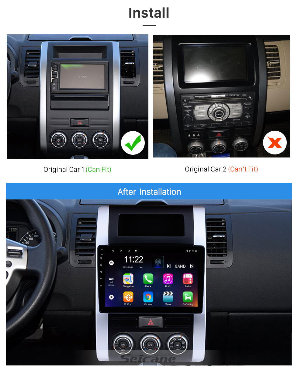 Seicane 10,1 pouces Android 8.1 Radio pour 2008-2012 NISSAN X-TRAIL XTrail X Trail T32 T31 Qashqai Dongfeng MX6 Écran tactile HD avec GPS Navigation Bluetooth WIFI support SWC