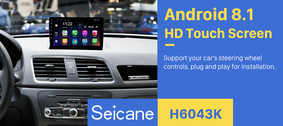 Seicane 2013-2017 AUDI Q3 Android 8.1 9 inch HD Touchscreen Bluetooth GPS Navigation system auto Radio support 3G WIFI Rearview Camera DAB+ DVR Digital TV Steering Wheel Control OBD2
