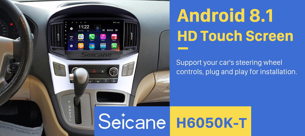 Seicane 10,1 pouces Android 8.1 2016 2017 Hyundai Starex H-1 Wagon radio de navigation GPS avec écran tactile Bluetooth USB Wifi support TPMS DVR