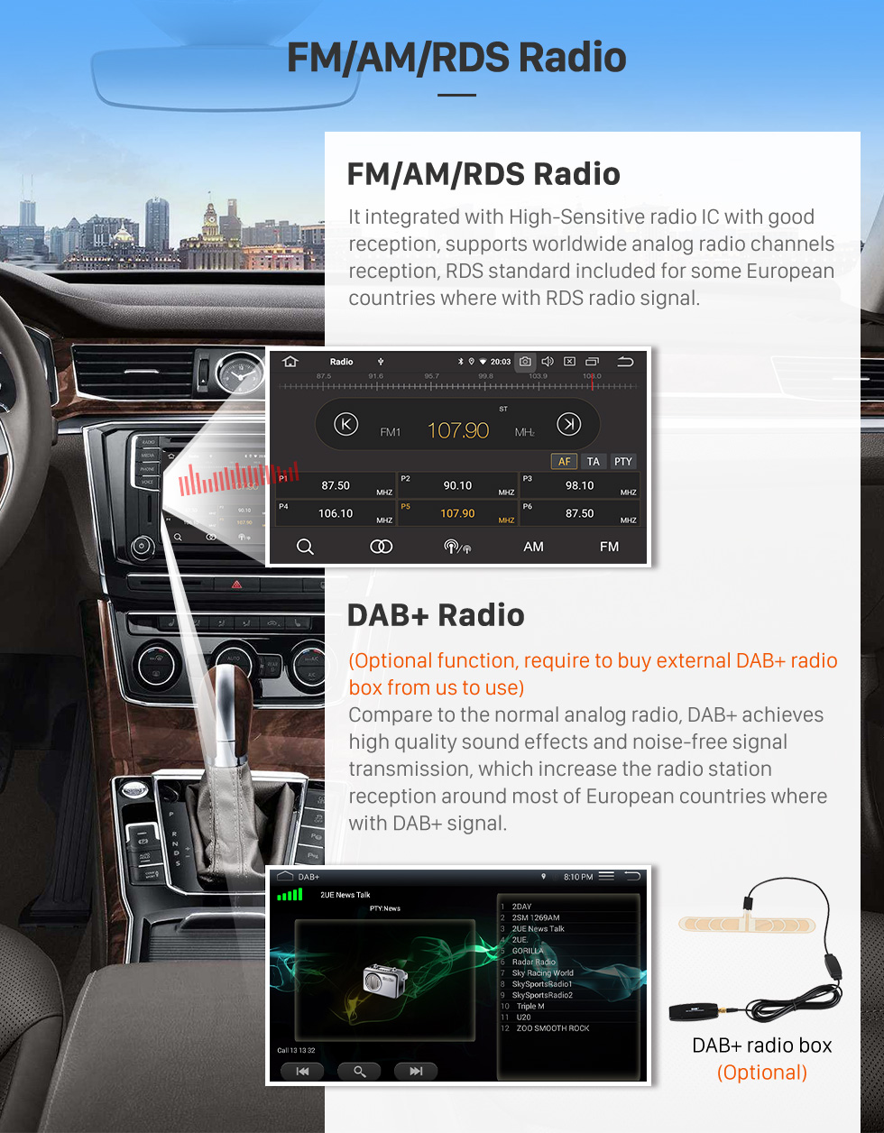 Seicane Android 9.0 Car Stereo for 2010-2013 VW Volkswagen POLO Multivan with touch Screen 3G WiFi DVD Player Bluetooth Radio Mirror Link OBD2 DVR Rearview Camera Steering wheel control
