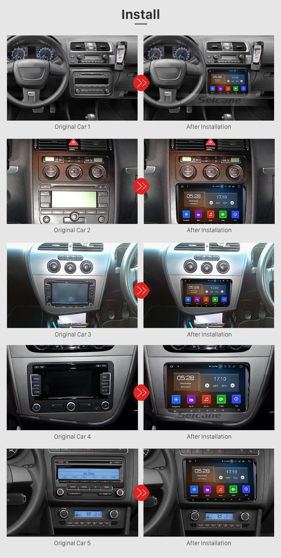 Seicane 9 inch Android 9.0 Aftermarket OEM Autoradio GPS Navigation Stereo for 2003-2011 VW Volkswagen Scirocco Golf Polo Passat Jetta Tiguan Touran Sharan Sagita Caddy Cupra Seat Toledo Leon Alhambra with HD 1024*600 Touch Screen OBD2 Mirror Radio DVD Player