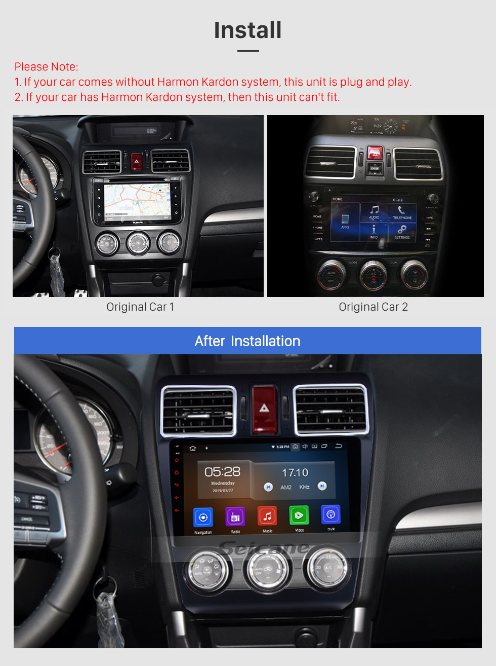 Seicane 2014 2015 2016 Subaru WRX Forester 9 Zoll Android 9.0 Radio GPS Navigationssystem Bluetooth Touchscreen 4G WiFi DAB + TPMS DAB + DVR OBDII DVD-Player
