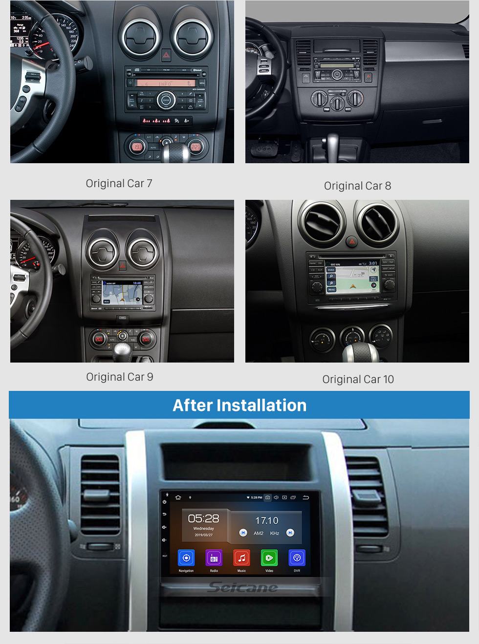 Seicane 7 inch HD Touch screen 2 Din Universal Radio Android 9.0 GPS Navigation system with Bluetooth Phone WIFI Multimedia Player 1080P Video USB Steering Wheel Control