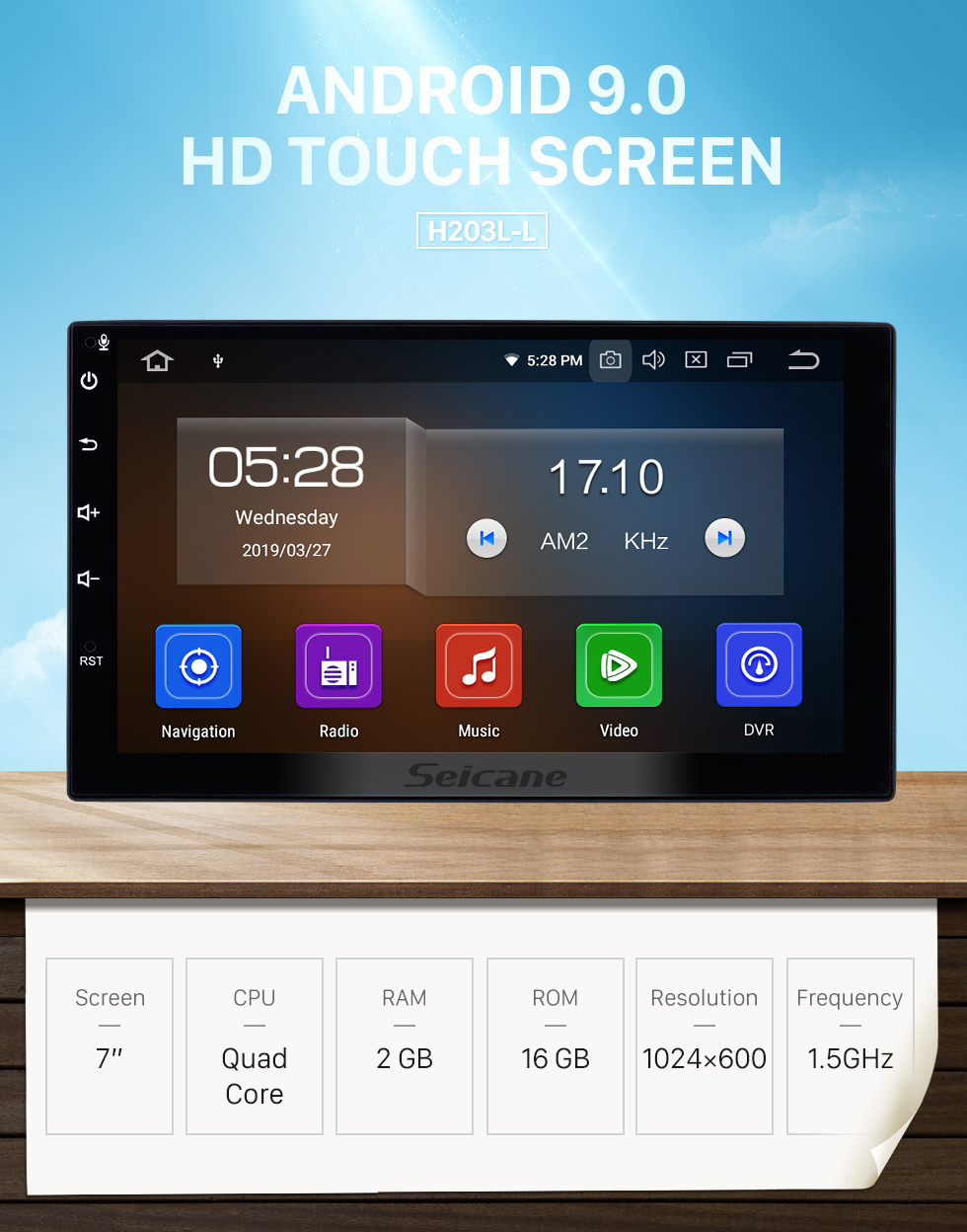 Seicane 7 Zoll Deckless HD Touch Panel 2 Din Universal Radio Android 9.0 GPS Navigationssystem mit Bluetooth Telefon WIFI Multimedia Player 1080P Video USB Lenkradsteuerung