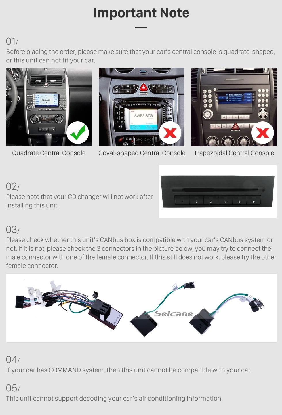 Seicane 9 inch 1024*600 touchscreen Radio for 2006-2012 Mercedes Benz Sprinter 211 CDI 309 CDI 311 CDI 509 CDI Benz A-class W169 A150 A170  Benz B-class W245 B170 B200 Benz Viano Vito W639  Benz W315 W318 Android 9.0 In Das
