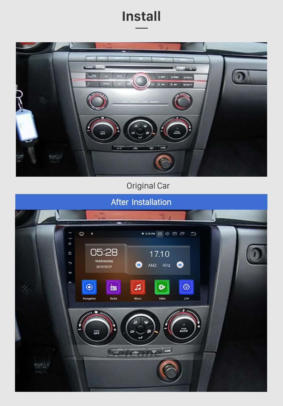 Seicane Todo en uno Android 9.0 2004-2009 Actualización de radio Mazda 3 con sistema de navegación GPS integrado en el tablero 1024 * 600 Pantalla capacitiva multitáctil Bluetooth Música Espejo Enlace OBD2 3G WiFi HD 1080P DVR Cámara de respaldo USB